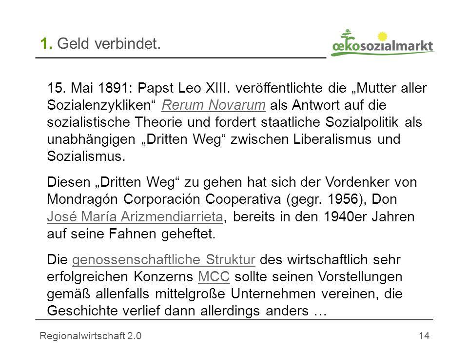 Regionalwirtschaft 2.014 1.Geld verbindet. 15. Mai 1891: Papst Leo XIII.