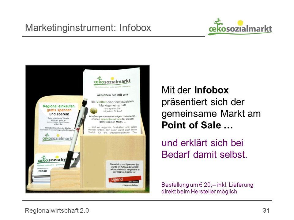 Regionalwirtschaft 2.031 Marketinginstrument: Infobox Mit der Infobox präsentiert sich der gemeinsame Markt am Point of Sale … und erklärt sich bei Bedarf damit selbst.