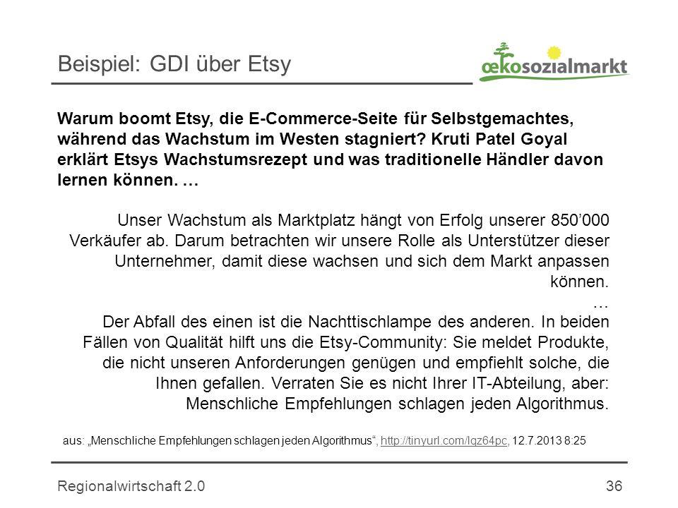 Regionalwirtschaft 2.036 Beispiel: GDI über Etsy Unser Wachstum als Marktplatz hängt von Erfolg unserer 850000 Verkäufer ab.