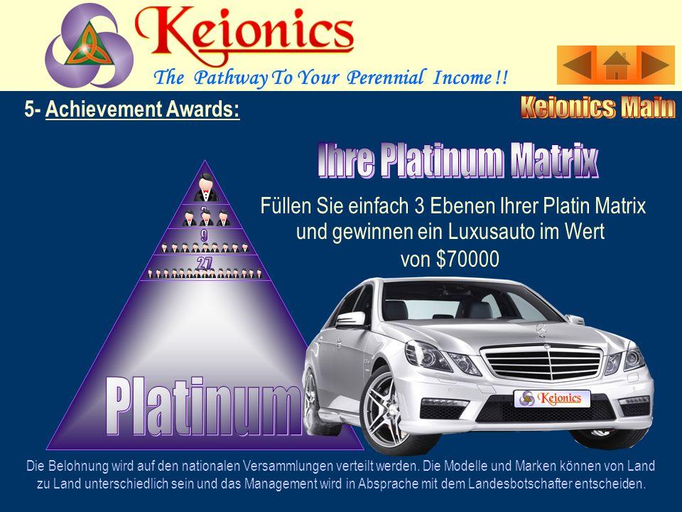 5- Achievement Awards: Füllen Sie einfach 3 Ebenen Ihrer Gold-Matrix Die Belohnung wird auf den nationalen Versammlungen verteilt werden.