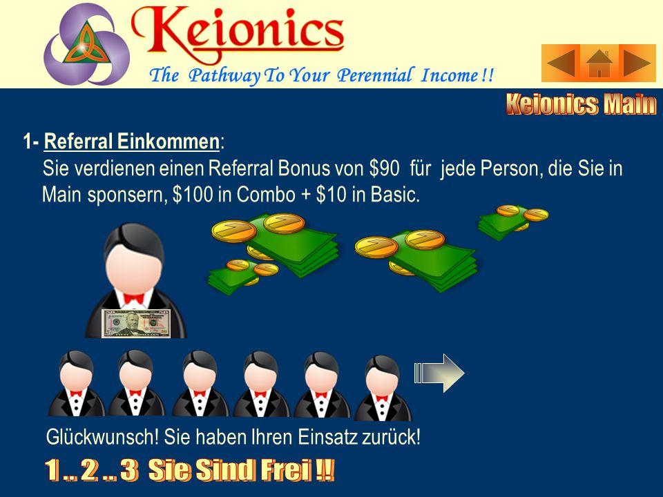 1- Referral Einkommen : Sie verdienen einen Referral Bonus von $90 für jede Person, die Sie in....Main sponsern, $100 in Combo + $10 in Basic.