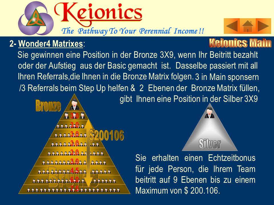 2- Wonder4 Matrixes : Sie gewinnen eine Position in der Bronze 3X9, wenn Ihr Beitritt bezahlt.
