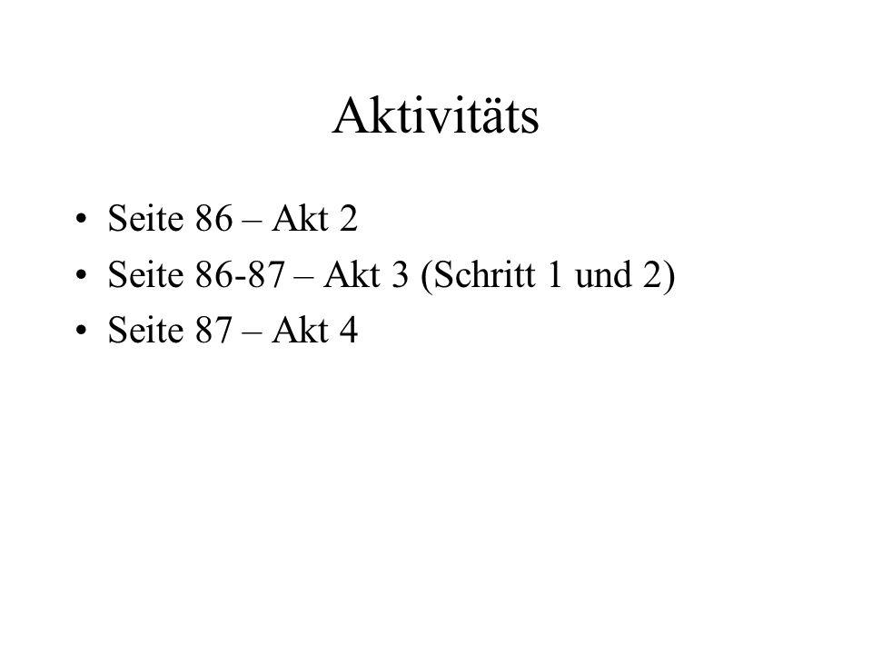 Aktivitäts Seite 86 – Akt 2 Seite 86-87 – Akt 3 (Schritt 1 und 2) Seite 87 – Akt 4