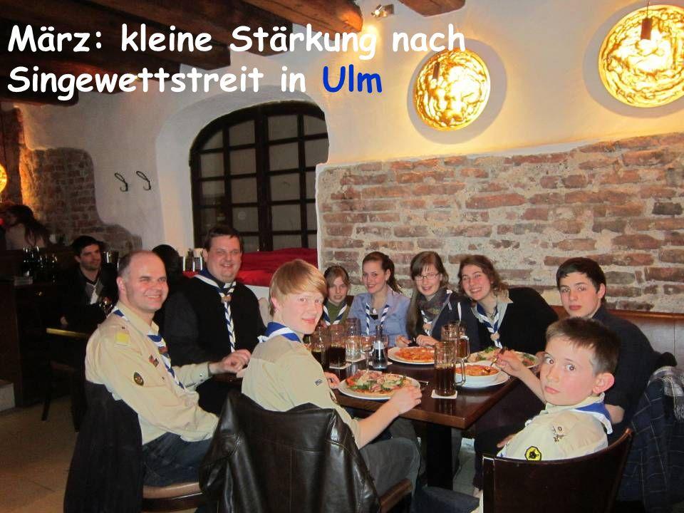 März: kleine Stärkung nach Singewettstreit in Ulm