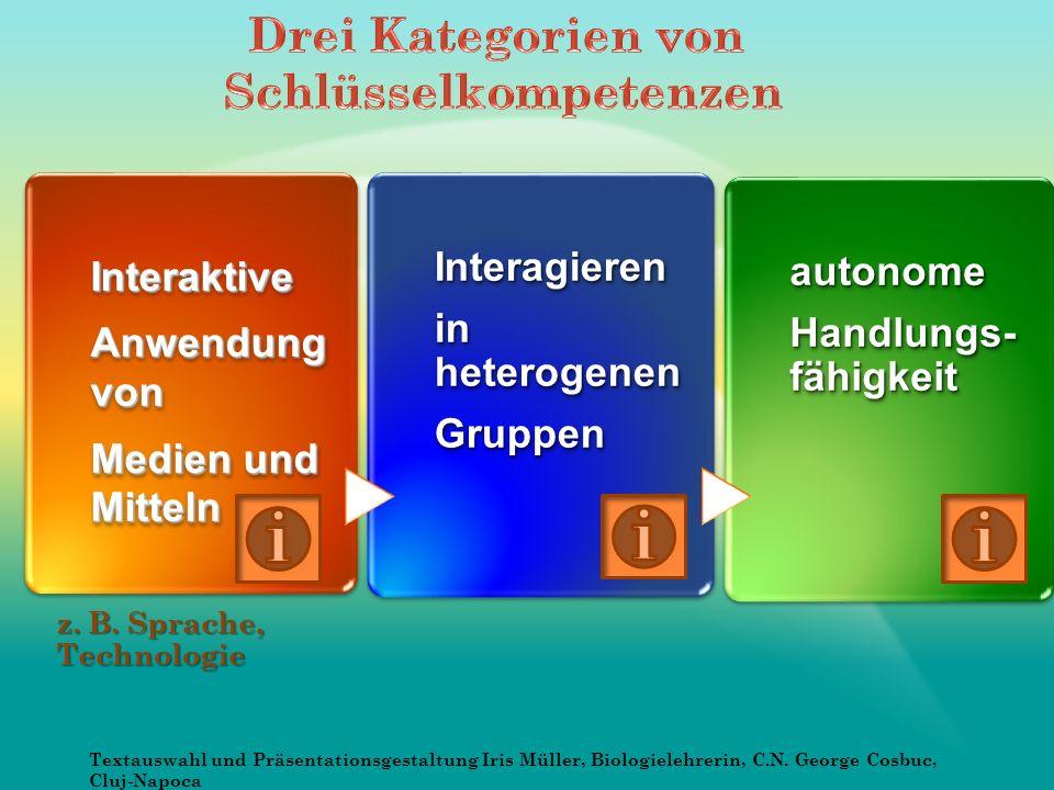 Interaktive Anwendung von Medien und Mitteln Interaktive Anwendung von Medien und Mitteln Interagieren in heterogenen GruppenInteragieren Gruppen autonome Handlungs- fähigkeit autonome z.