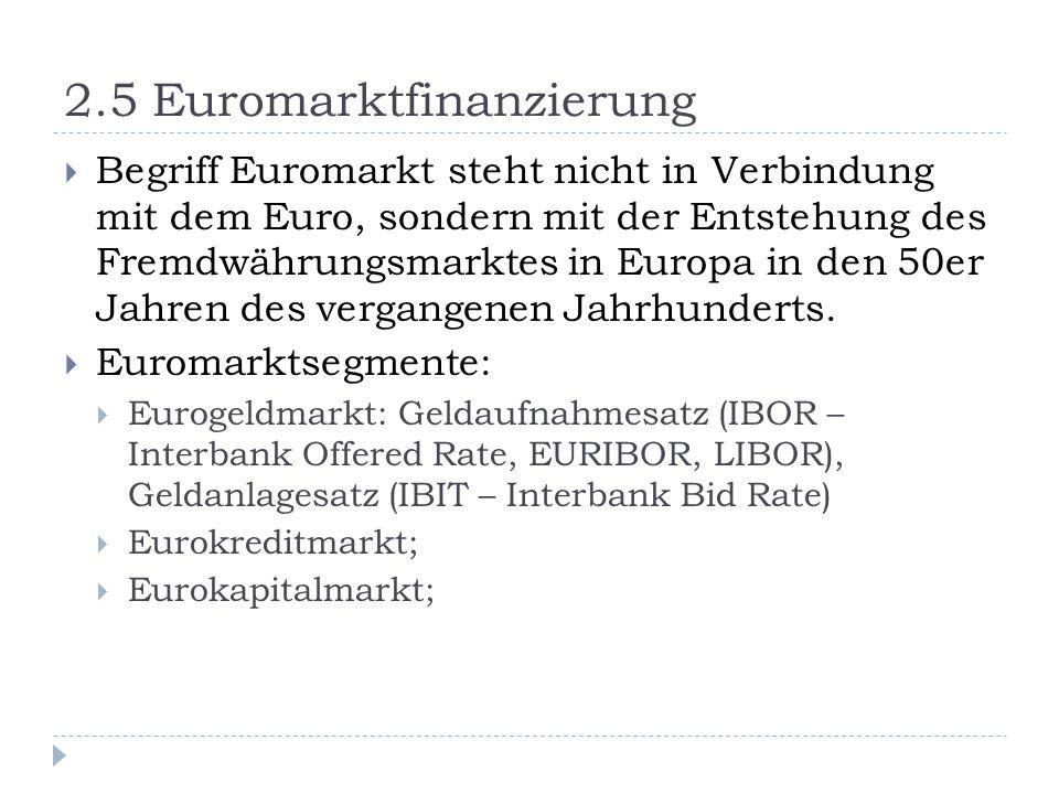 2.5 Euromarktfinanzierung Begriff Euromarkt steht nicht in Verbindung mit dem Euro, sondern mit der Entstehung des Fremdwährungsmarktes in Europa in d