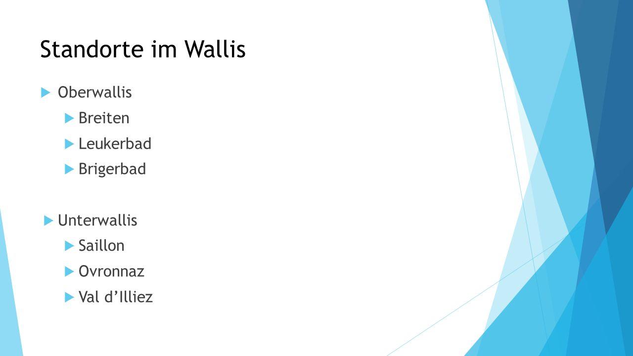 Standorte im Wallis Oberwallis Breiten Leukerbad Brigerbad Unterwallis Saillon Ovronnaz Val dIlliez