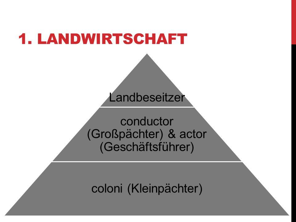 1. LANDWIRTSCHAFT Landbeseitzer conductor (Großpächter) & actor (Geschäftsführer) coloni (Kleinpächter)