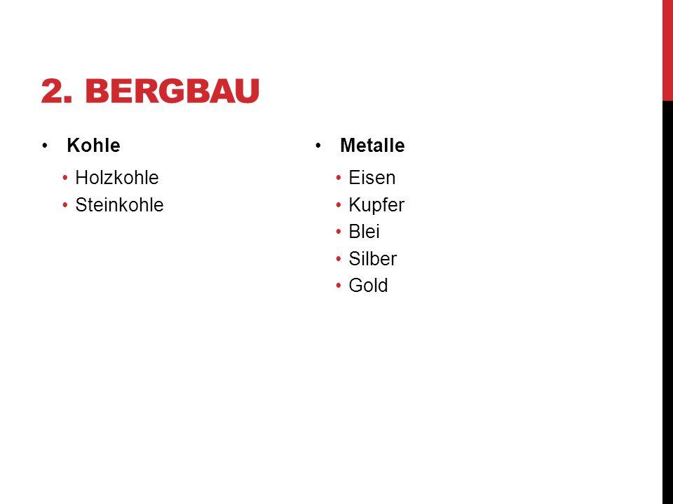 2. BERGBAU Kohle Holzkohle Steinkohle Metalle Eisen Kupfer Blei Silber Gold