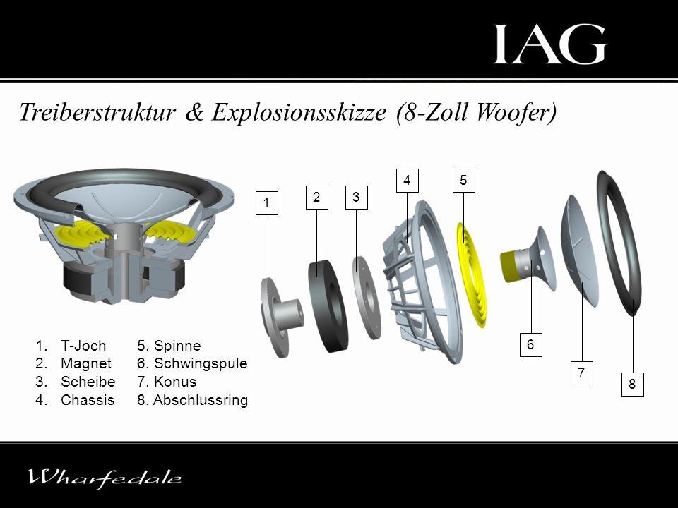Treiberstruktur & Explosionsskizze (8-Zoll Woofer) 1.T-Joch 2.Magnet 3.Scheibe 4.Chassis 5. Spinne 6. Schwingspule 7. Konus 8. Abschlussring 1 23 45 6