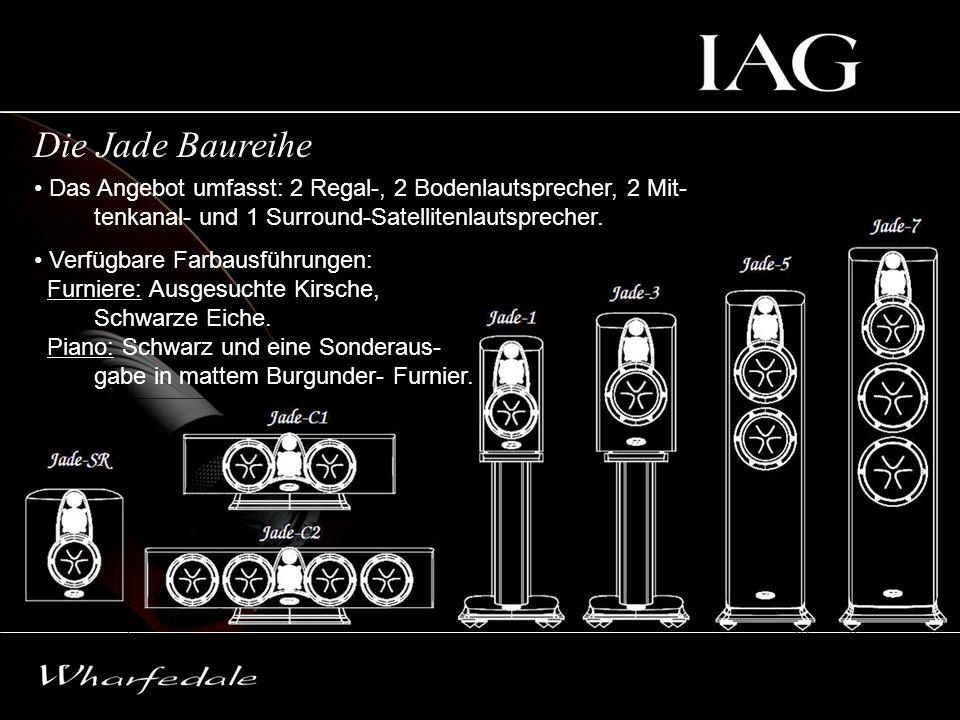 Die Jade Baureihe Das Angebot umfasst: 2 Regal-, 2 Bodenlautsprecher, 2 Mit- tenkanal- und 1 Surround-Satellitenlautsprecher. Verfügbare Farbausführun
