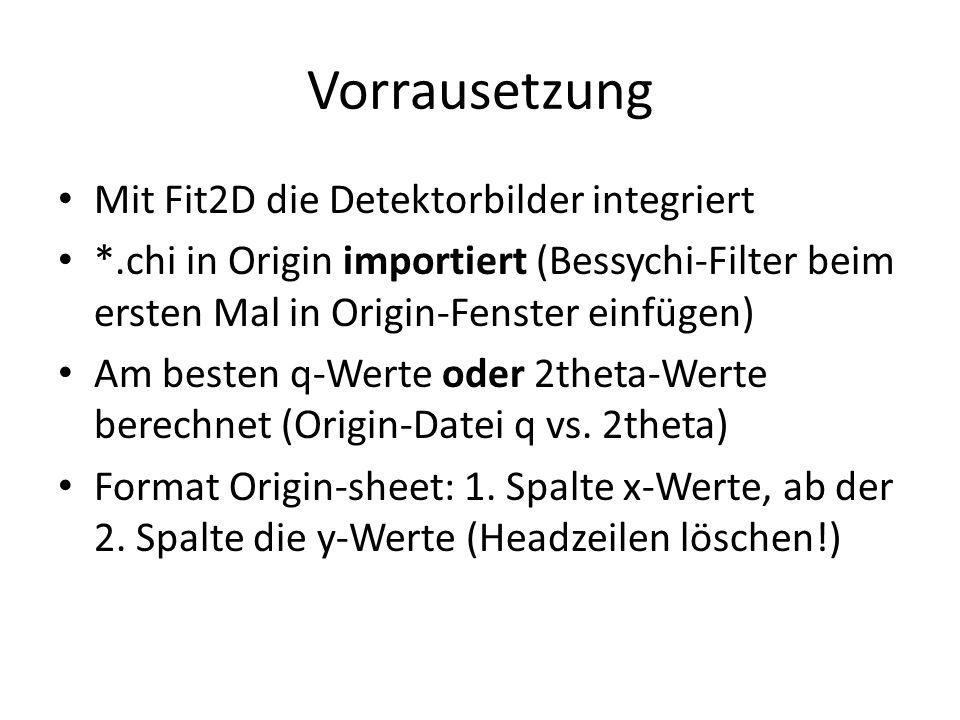 Vorrausetzung Mit Fit2D die Detektorbilder integriert *.chi in Origin importiert (Bessychi-Filter beim ersten Mal in Origin-Fenster einfügen) Am besten q-Werte oder 2theta-Werte berechnet (Origin-Datei q vs.