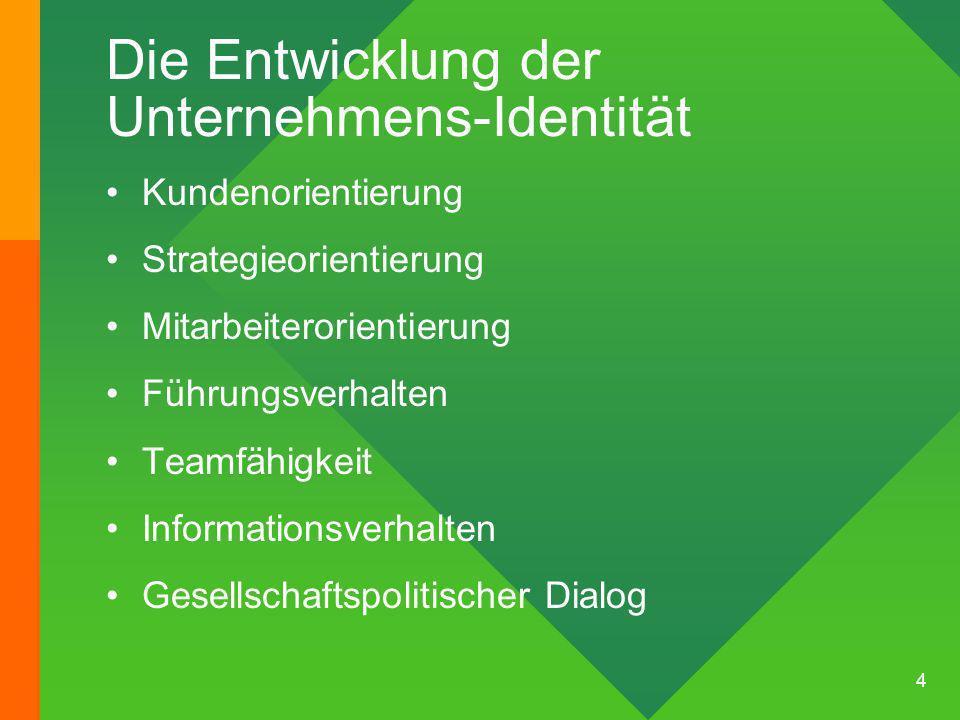 4 Die Entwicklung der Unternehmens-Identität Kundenorientierung Strategieorientierung Mitarbeiterorientierung Führungsverhalten Teamfähigkeit Informationsverhalten Gesellschaftspolitischer Dialog