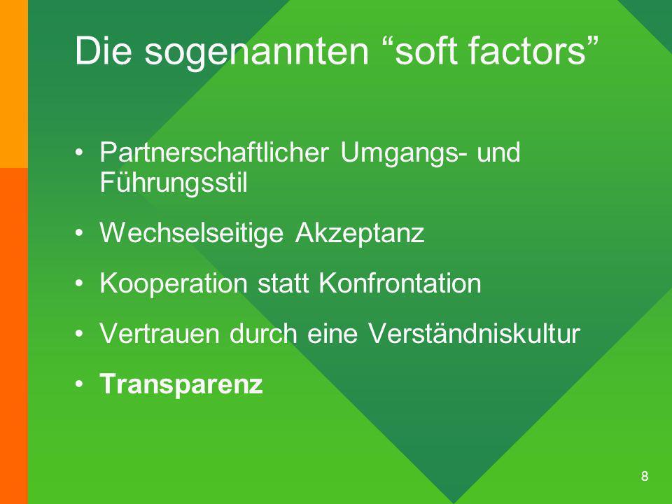 8 Die sogenannten soft factors Partnerschaftlicher Umgangs- und Führungsstil Wechselseitige Akzeptanz Kooperation statt Konfrontation Vertrauen durch eine Verständniskultur Transparenz