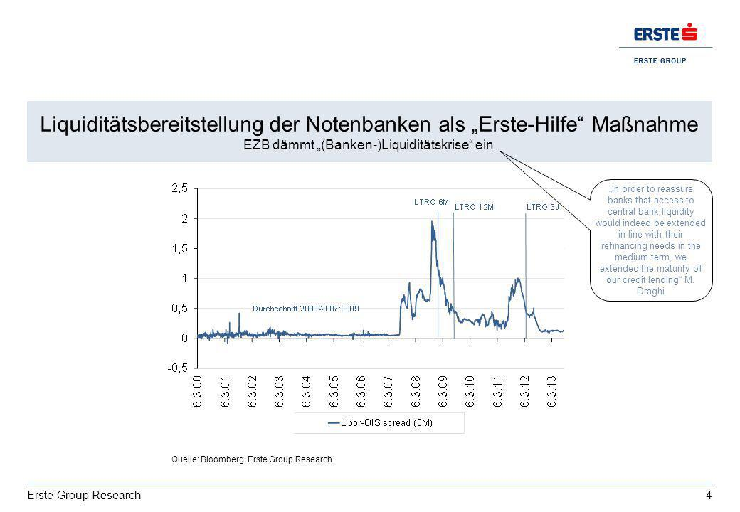 4 Erste Group Research Wachstum: deutsche Exporte bestimmt von USA vs. Italien EZ BIP 2013: 0,4%, 2014:1% Liquiditätsbereitstellung der Notenbanken al