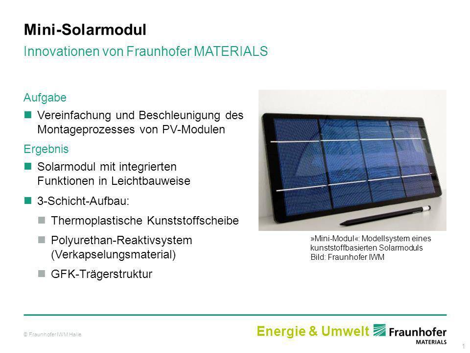 1 Mini-Solarmodul »Mini-Modul«: Modellsystem eines kunststoffbasierten Solarmoduls Bild: Fraunhofer IWM Aufgabe Vereinfachung und Beschleunigung des M