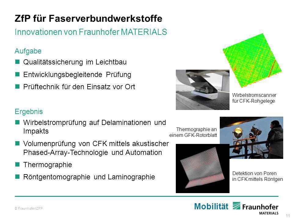 11 ZfP für Faserverbundwerkstoffe © Fraunhofer IZFP Innovationen von Fraunhofer MATERIALS Aufgabe Qualitätssicherung im Leichtbau Entwicklungsbegleite