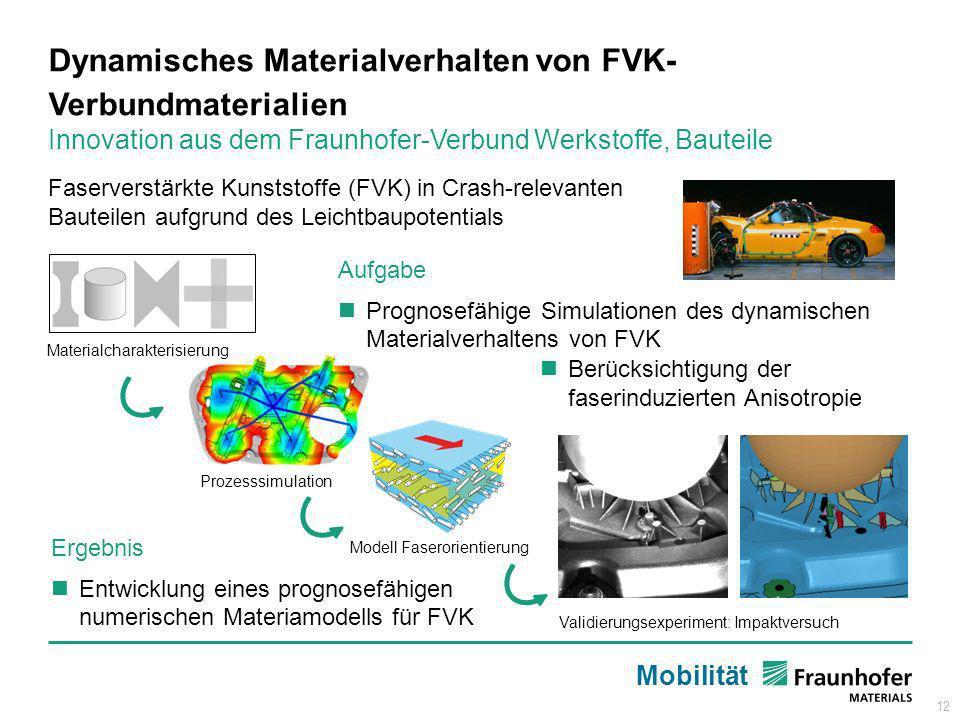 12 Aufgabe Prognosefähige Simulationen des dynamischen Materialverhaltens von FVK Dynamisches Materialverhalten von FVK- Verbundmaterialien Innovation