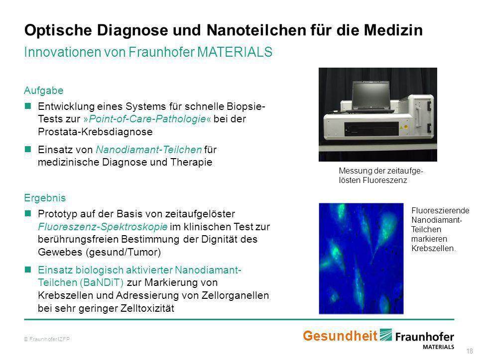 18 Optische Diagnose und Nanoteilchen für die Medizin © Fraunhofer IZFP Innovationen von Fraunhofer MATERIALS Aufgabe Entwicklung eines Systems für sc