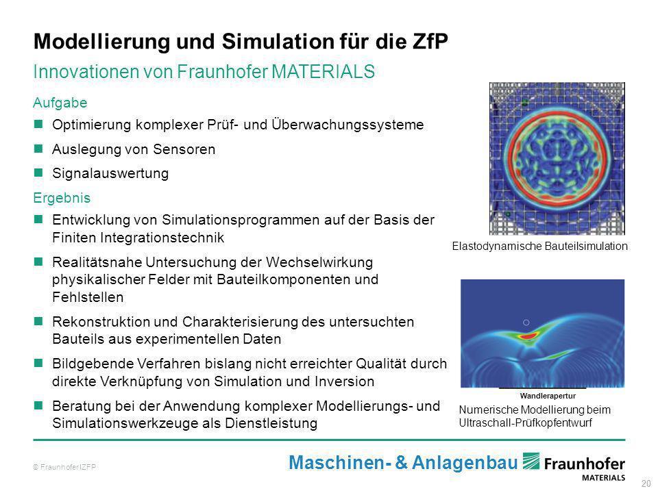 20 Modellierung und Simulation für die ZfP © Fraunhofer IZFP Aufgabe Optimierung komplexer Prüf- und Überwachungssysteme Auslegung von Sensoren Signal