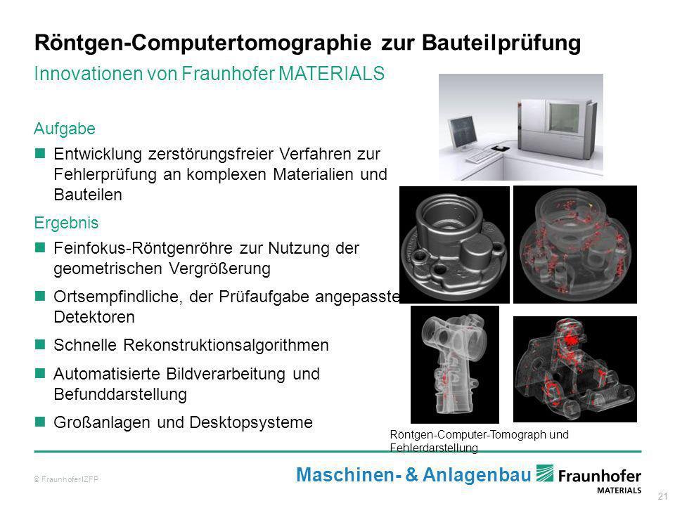 21 Röntgen-Computertomographie zur Bauteilprüfung © Fraunhofer IZFP Innovationen von Fraunhofer MATERIALS Röntgen-Computer-Tomograph und Fehlerdarstel