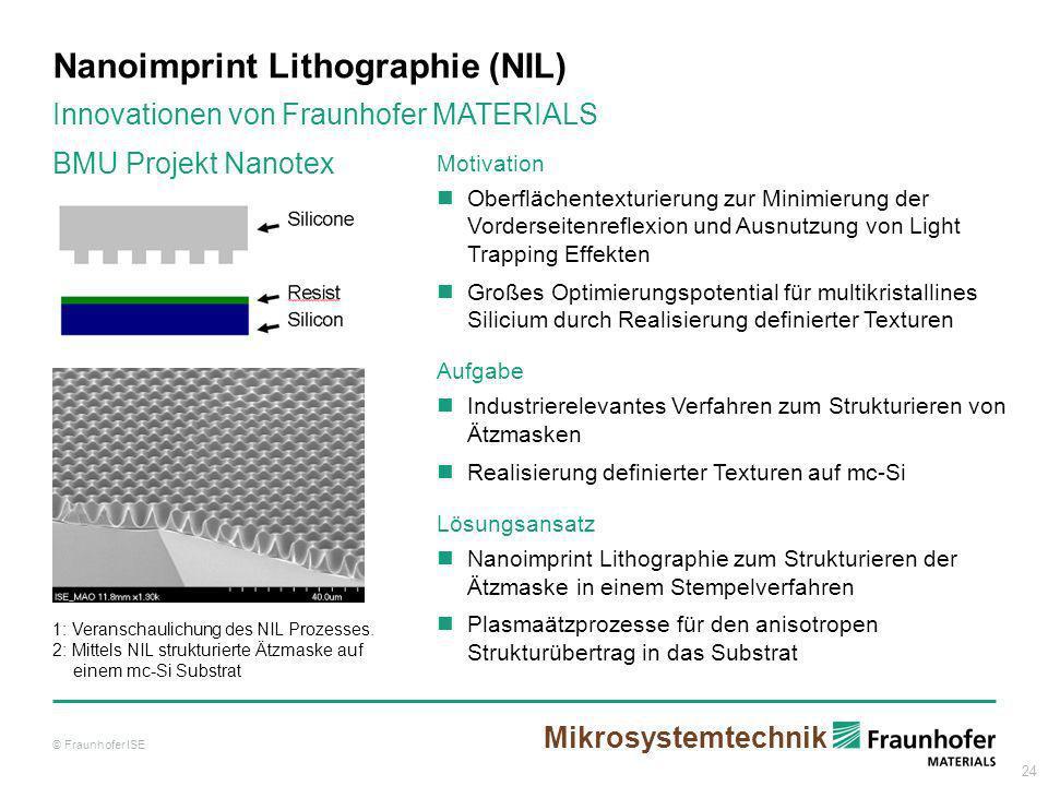 24 Nanoimprint Lithographie (NIL) Motivation Oberflächentexturierung zur Minimierung der Vorderseitenreflexion und Ausnutzung von Light Trapping Effek