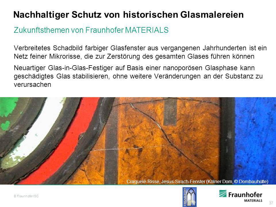 37 Nachhaltiger Schutz von historischen Glasmalereien Verbreitetes Schadbild farbiger Glasfenster aus vergangenen Jahrhunderten ist ein Netz feiner Mi