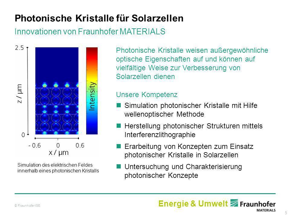 5 Photonische Kristalle für Solarzellen Photonische Kristalle weisen außergewöhnliche optische Eigenschaften auf und können auf vielfältige Weise zur
