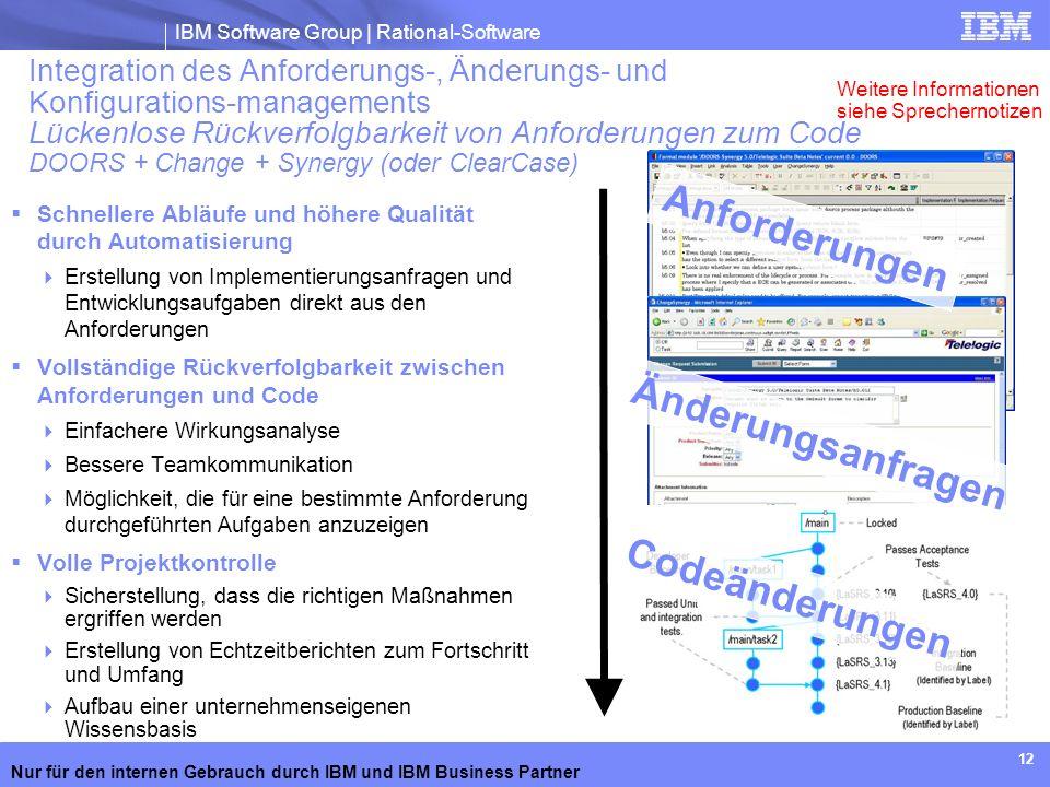 IBM Software Group | Rational-Software Nur für den internen Gebrauch durch IBM und IBM Business Partner 12 Integration des Anforderungs-, Änderungs- u