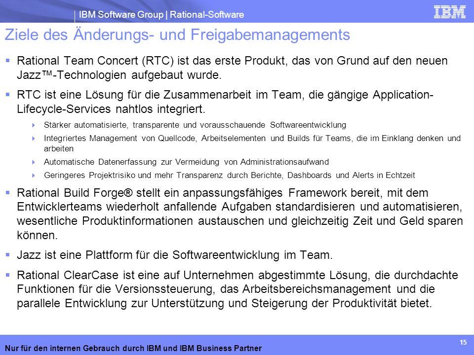 IBM Software Group | Rational-Software Nur für den internen Gebrauch durch IBM und IBM Business Partner 15 Ziele des Änderungs- und Freigabemanagement