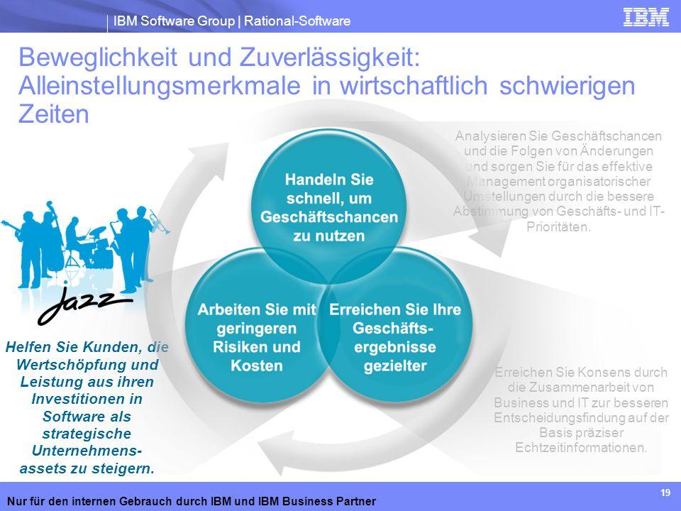 IBM Software Group | Rational-Software Nur für den internen Gebrauch durch IBM und IBM Business Partner 19 Beweglichkeit und Zuverlässigkeit: Alleinst