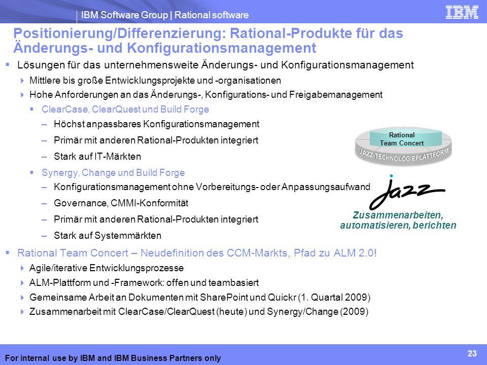IBM Software Group | Rational software 23 For internal use by IBM and IBM Business Partners only Lösungen für das unternehmensweite Änderungs- und Kon