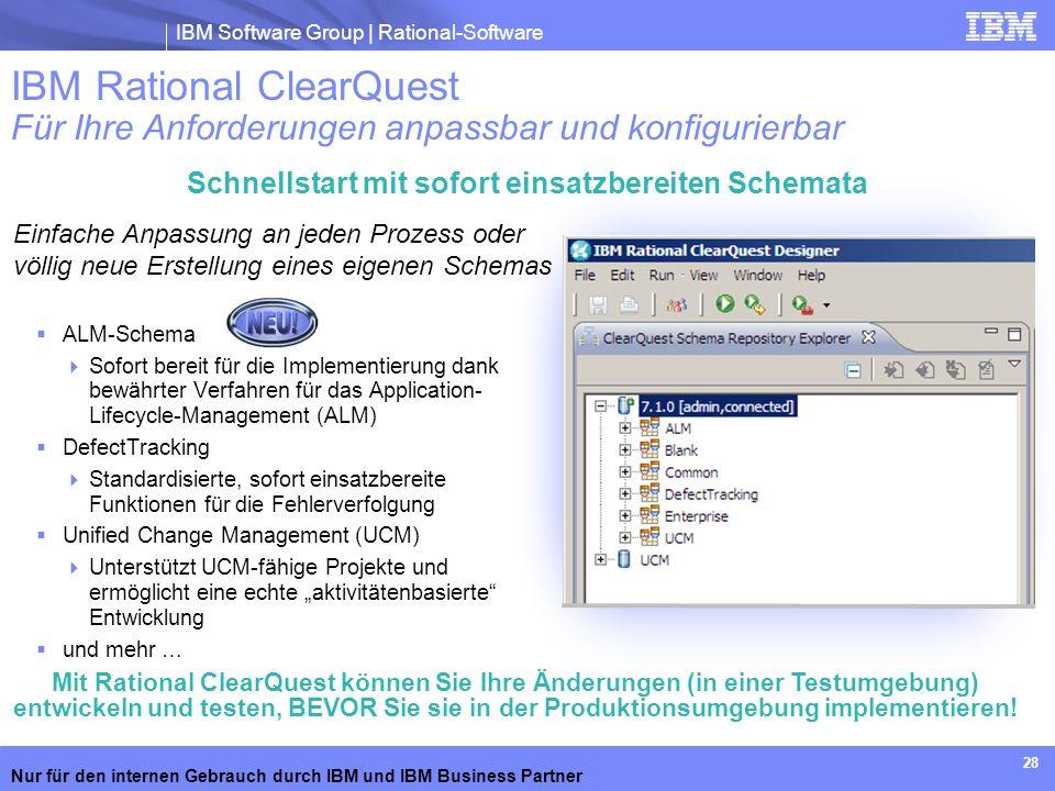 IBM Software Group | Rational-Software Nur für den internen Gebrauch durch IBM und IBM Business Partner 28 Schnellstart mit sofort einsatzbereiten Sch