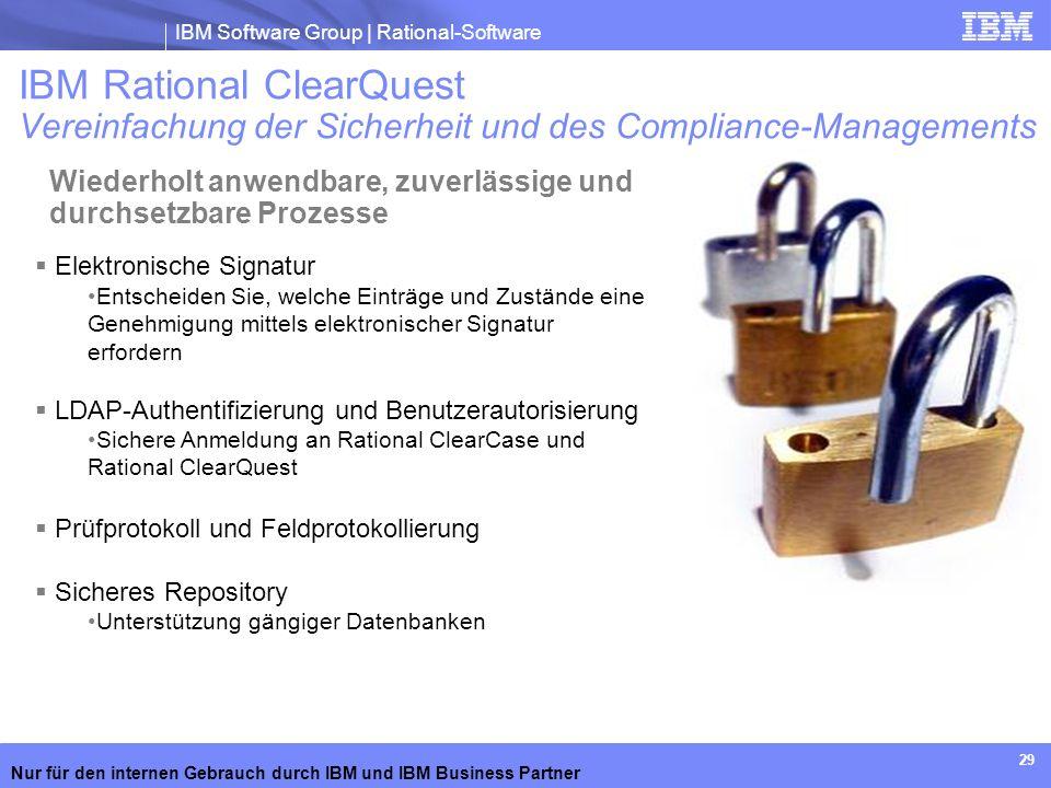 IBM Software Group | Rational-Software Nur für den internen Gebrauch durch IBM und IBM Business Partner 29 Elektronische Signatur Entscheiden Sie, wel