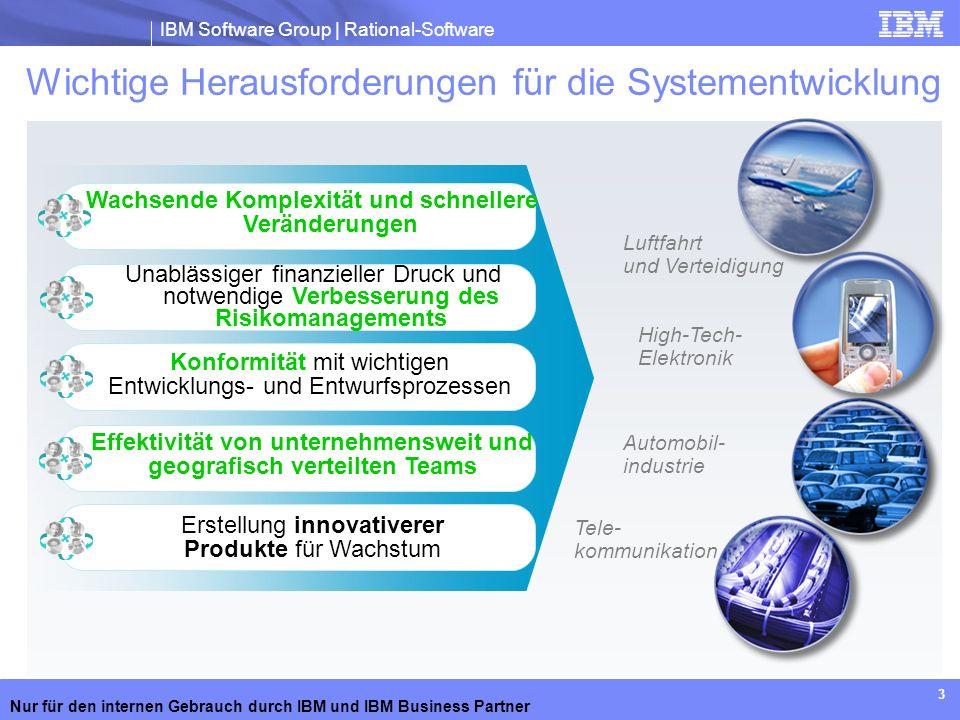 IBM Software Group | Rational-Software Nur für den internen Gebrauch durch IBM und IBM Business Partner 3 Wichtige Herausforderungen für die Systement