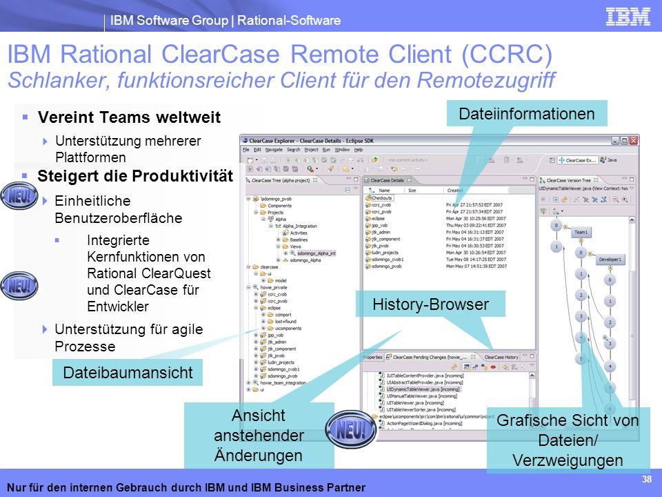 IBM Software Group | Rational-Software Nur für den internen Gebrauch durch IBM und IBM Business Partner 38 Vereint Teams weltweit Unterstützung mehrer