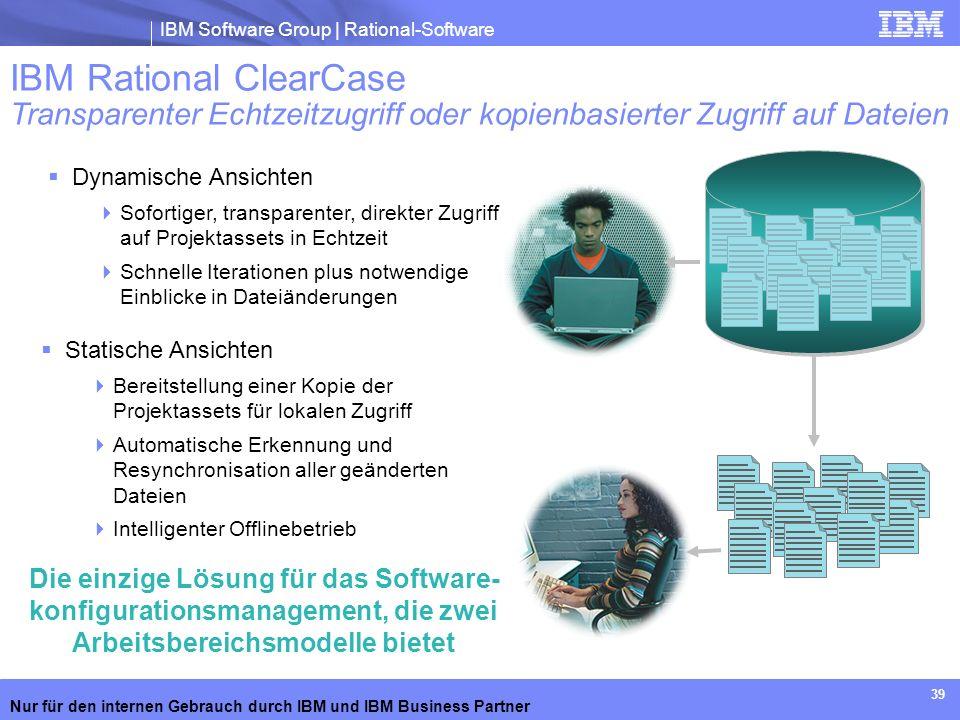 IBM Software Group | Rational-Software Nur für den internen Gebrauch durch IBM und IBM Business Partner 39 Dynamische Ansichten Sofortiger, transparen
