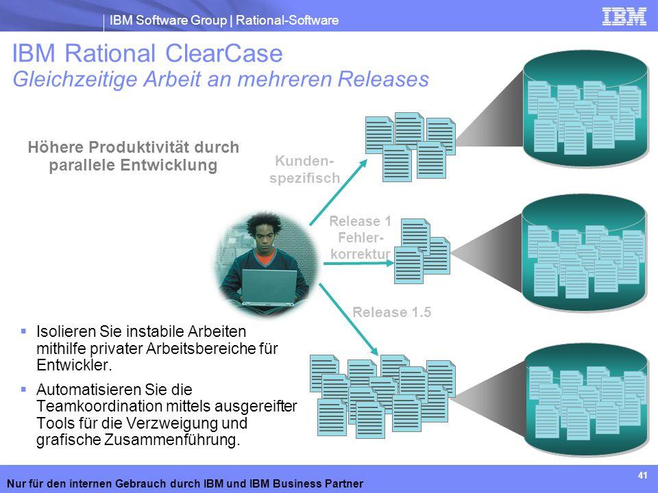 IBM Software Group | Rational-Software Nur für den internen Gebrauch durch IBM und IBM Business Partner 41 Kunden- spezifisch Release 1 Fehler- korrek
