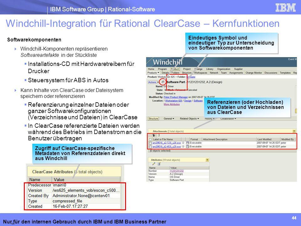 IBM Software Group | Rational-Software Nur für den internen Gebrauch durch IBM und IBM Business Partner Eindeutiges Symbol und eindeutiger Typ zur Unt