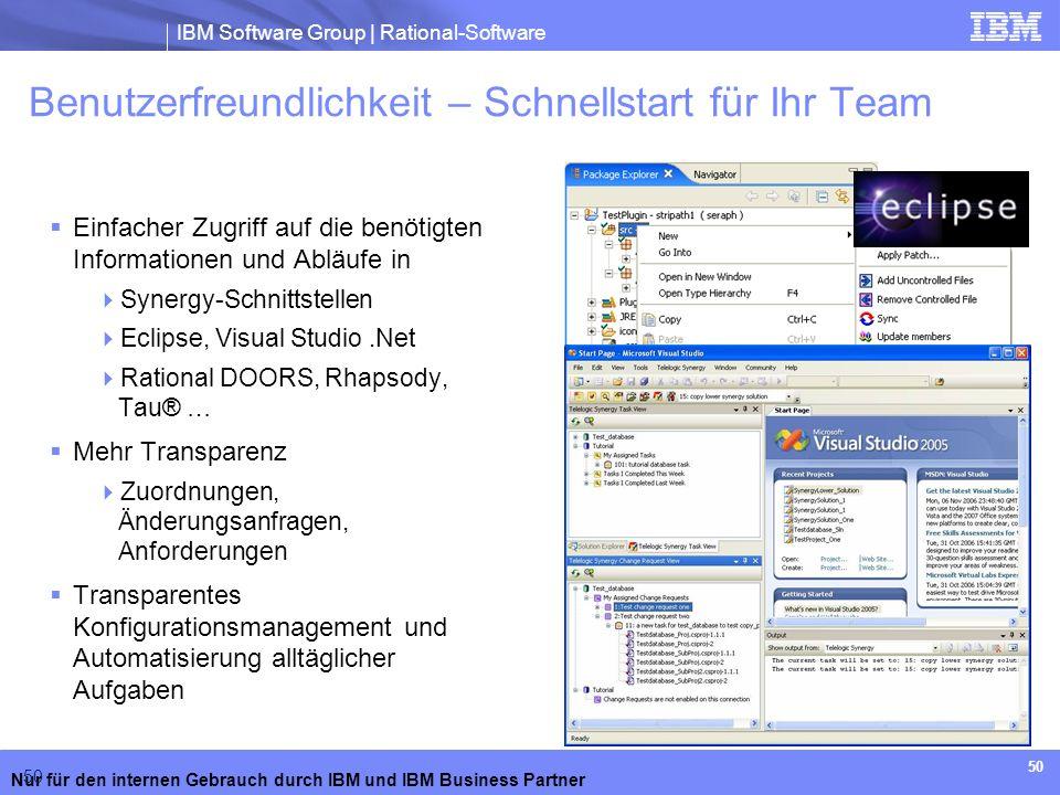 IBM Software Group | Rational-Software Nur für den internen Gebrauch durch IBM und IBM Business Partner 50 Benutzerfreundlichkeit – Schnellstart für I