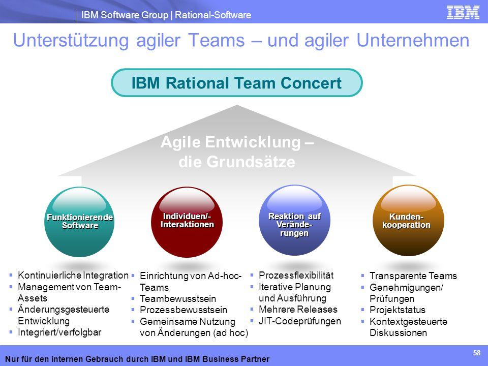 IBM Software Group | Rational-Software Nur für den internen Gebrauch durch IBM und IBM Business Partner 58 Unterstützung agiler Teams – und agiler Unt