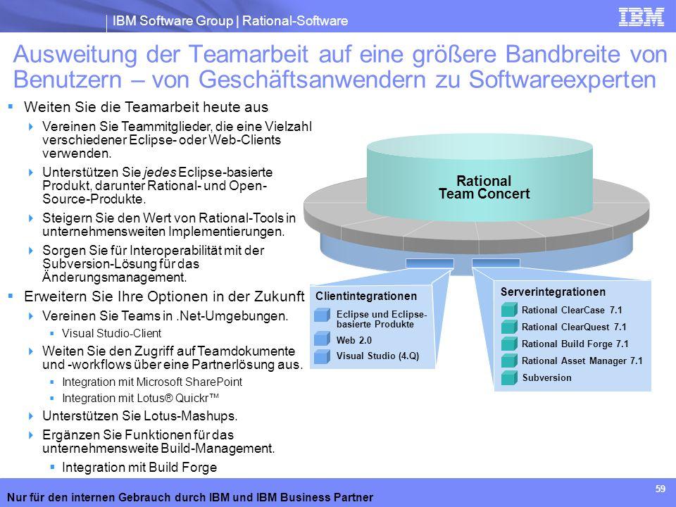 IBM Software Group | Rational-Software Nur für den internen Gebrauch durch IBM und IBM Business Partner 59 Ausweitung der Teamarbeit auf eine größere