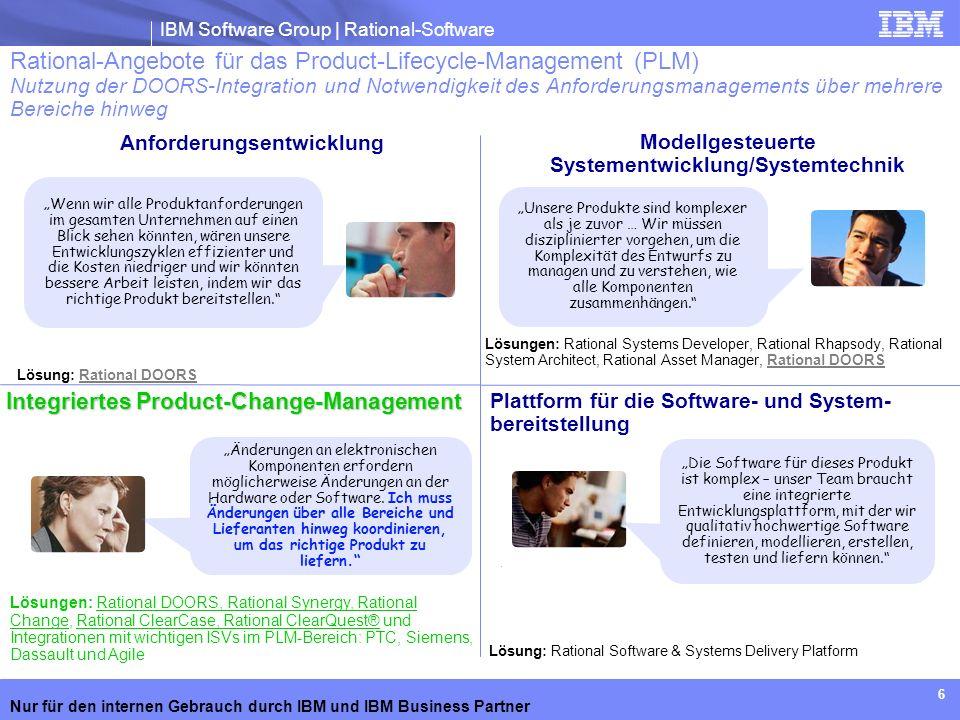 IBM Software Group | Rational-Software Nur für den internen Gebrauch durch IBM und IBM Business Partner 6 Rational-Angebote für das Product-Lifecycle-