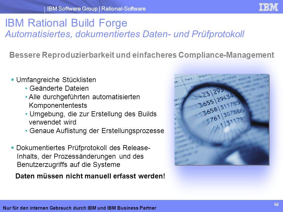 IBM Software Group | Rational-Software Nur für den internen Gebrauch durch IBM und IBM Business Partner 62 Umfangreiche Stücklisten Geänderte Dateien