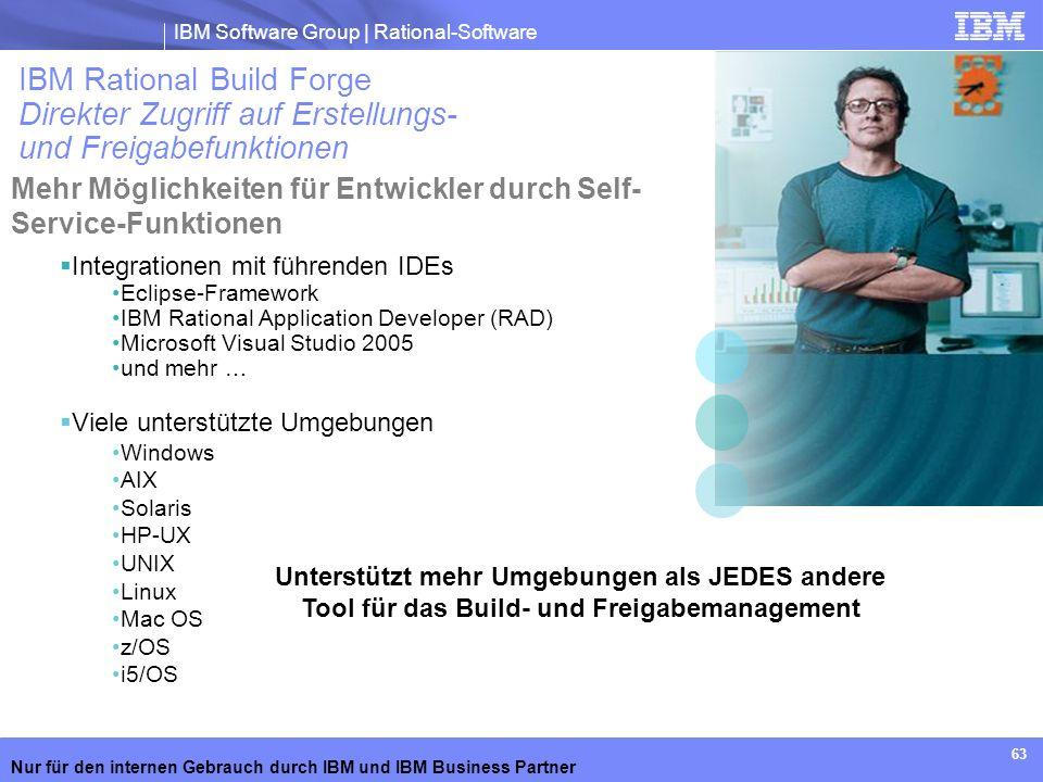 IBM Software Group | Rational-Software Nur für den internen Gebrauch durch IBM und IBM Business Partner 63 Integrationen mit führenden IDEs Eclipse-Fr