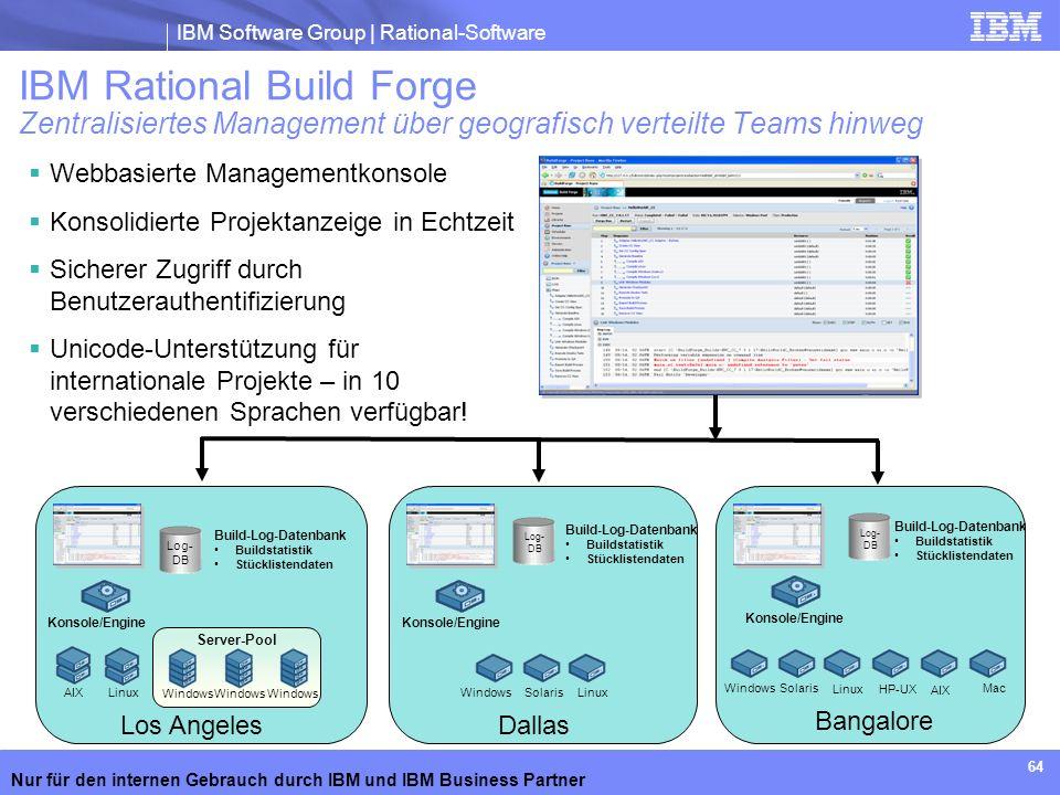 IBM Software Group | Rational-Software Nur für den internen Gebrauch durch IBM und IBM Business Partner 64 Webbasierte Managementkonsole Konsolidierte