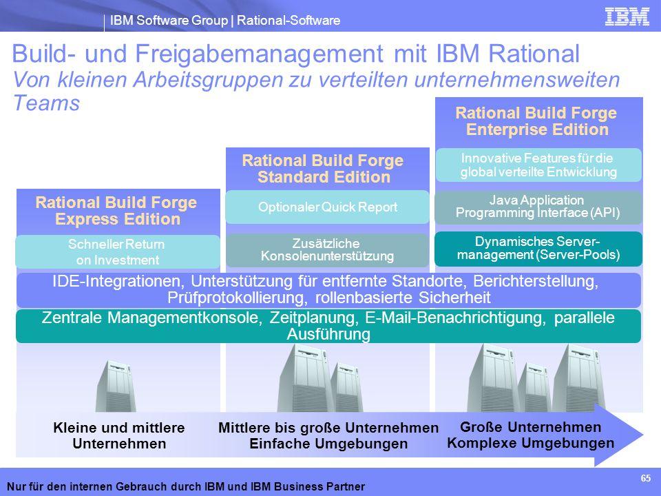 IBM Software Group | Rational-Software Nur für den internen Gebrauch durch IBM und IBM Business Partner 65 Rational Build Forge Standard Edition Ratio