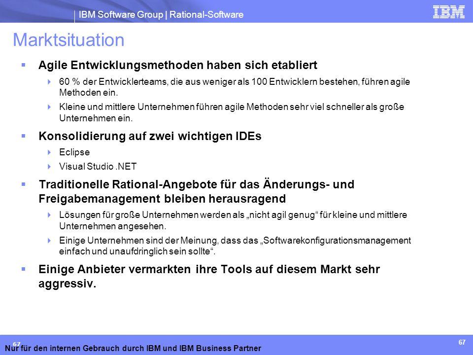 IBM Software Group | Rational-Software Nur für den internen Gebrauch durch IBM und IBM Business Partner 67 Marktsituation Agile Entwicklungsmethoden h