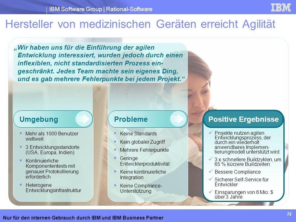 IBM Software Group | Rational-Software Nur für den internen Gebrauch durch IBM und IBM Business Partner 72 Hersteller von medizinischen Geräten erreic