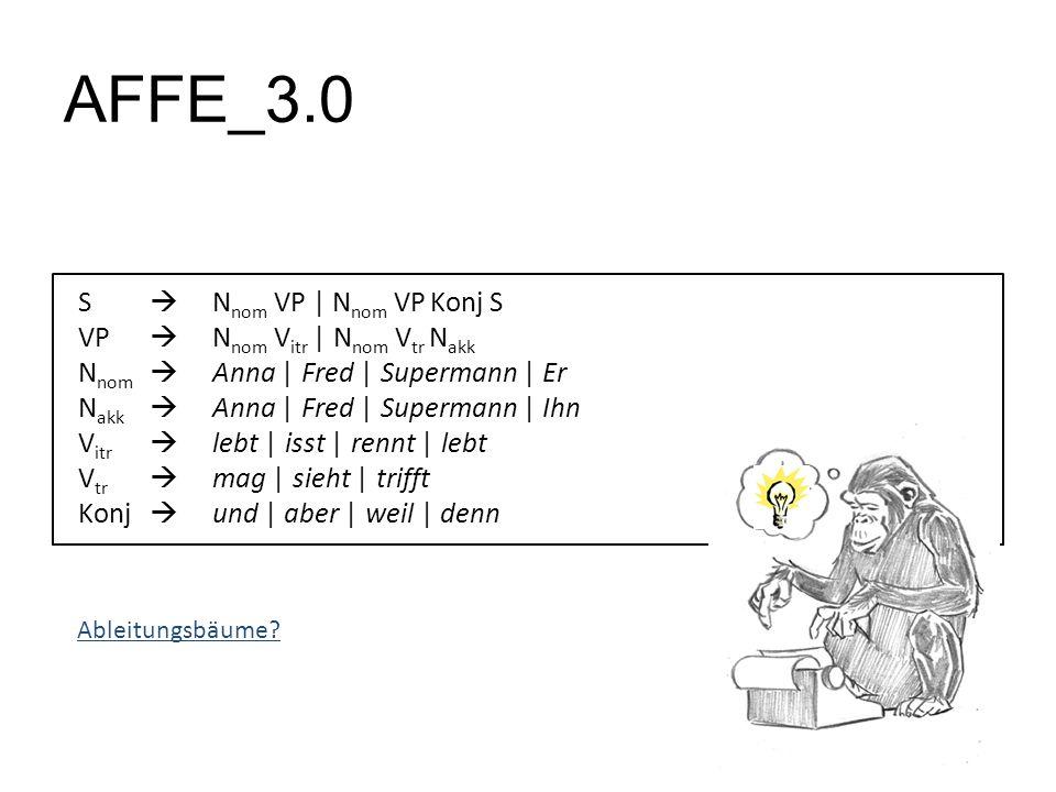 AFFE_3.0 S N nom VP | N nom VP Konj S VP N nom V itr | N nom V tr N akk N nom Anna | Fred | Supermann | Er N akk Anna | Fred | Supermann | Ihn V itr l